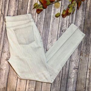 Eileen Fisher Light Grey Skinny Pleated Jeans